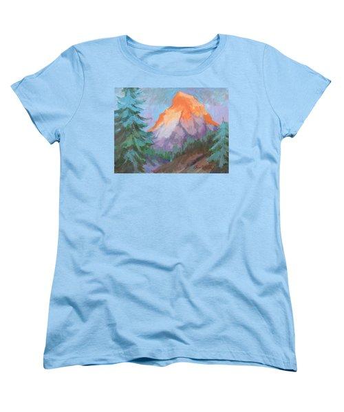 Women's T-Shirt (Standard Cut) featuring the painting Matterhorn Sunrise by Diane McClary