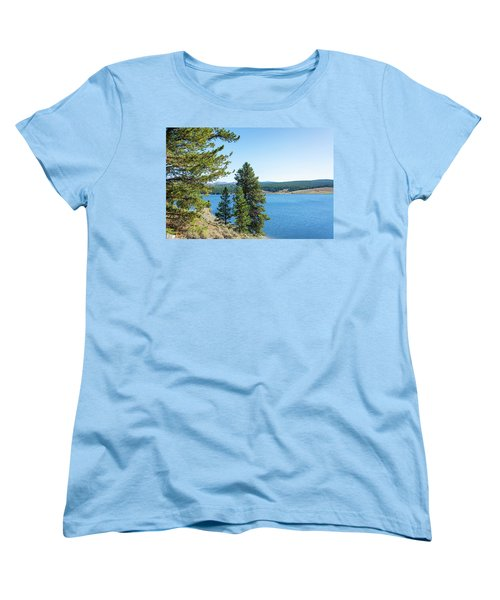 Meadowlark Lake And Trees Women's T-Shirt (Standard Cut) by Jess Kraft