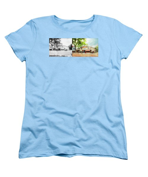Women's T-Shirt (Standard Cut) featuring the photograph Mechanic - All Cars Finely Tuned 1920 - Side By Side by Mike Savad