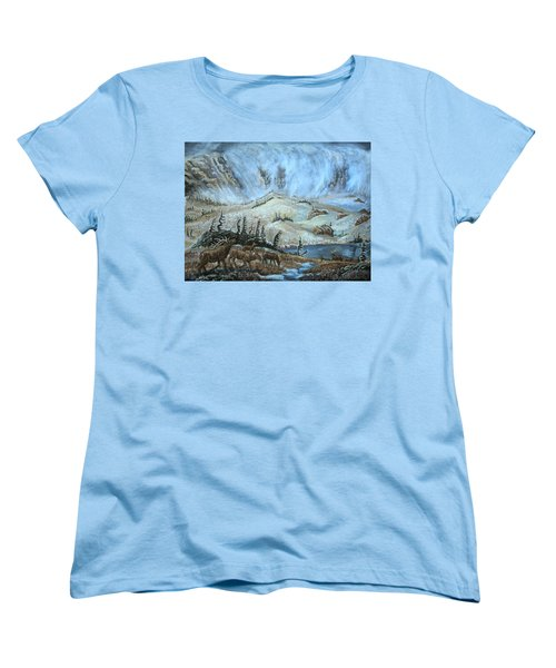 Women's T-Shirt (Standard Cut) featuring the painting Medicine Bow Peak In Clouds With Elk by Dawn Senior-Trask