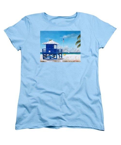 Meet At Blue Lifeguard Women's T-Shirt (Standard Cut) by Lloyd Dobson