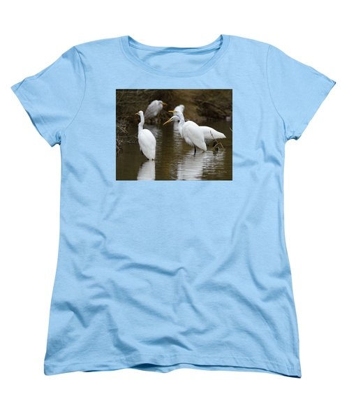 Women's T-Shirt (Standard Cut) featuring the photograph Meeting Of The Egrets by George Randy Bass