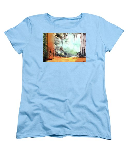 Women's T-Shirt (Standard Cut) featuring the painting Meeting On A Date by Anil Nene