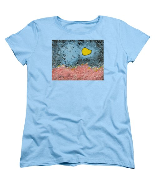 Women's T-Shirt (Standard Cut) featuring the painting Melting Moon Over Drifting Sand Dunes by Ben Gertsberg