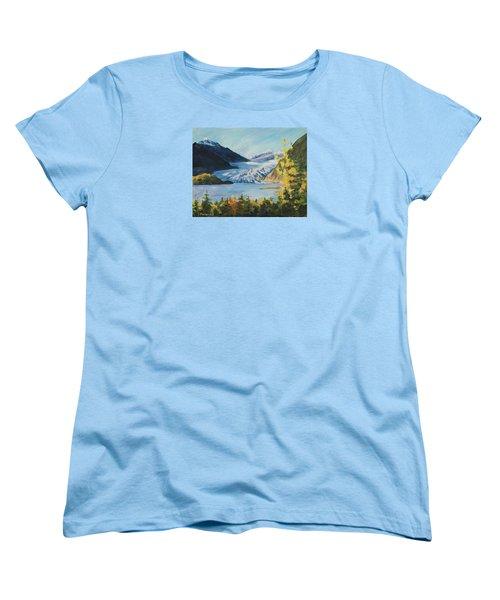 Women's T-Shirt (Standard Cut) featuring the painting Mendenhall Glacier Juneau Alaska by Yulia Kazansky