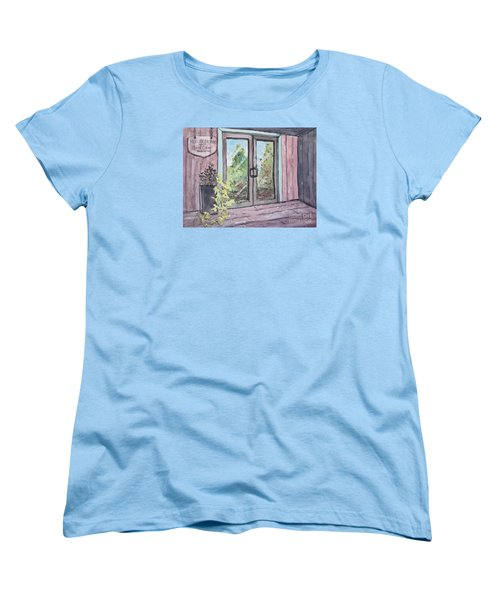 Women's T-Shirt (Standard Cut) featuring the painting Mercier Orchard's Hard Cider by Gretchen Allen