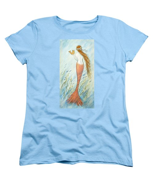 Mermaid And Her Catfish, Goldie Women's T-Shirt (Standard Cut) by Tina Obrien