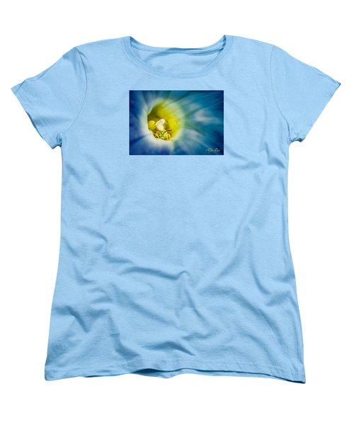 Metallic Green Bee In Blue Morning Glory Women's T-Shirt (Standard Cut) by Rikk Flohr