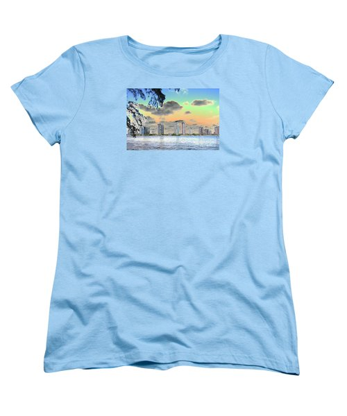Miami Skyline Abstract Women's T-Shirt (Standard Cut) by Christiane Schulze Art And Photography