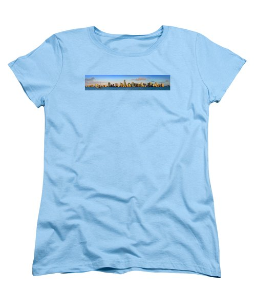 Miami Skyline In Morning Daytime Panorama Women's T-Shirt (Standard Cut) by Jon Holiday