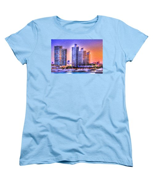 Women's T-Shirt (Standard Cut) featuring the photograph Miami Skyline Sunrise by Shelley Neff