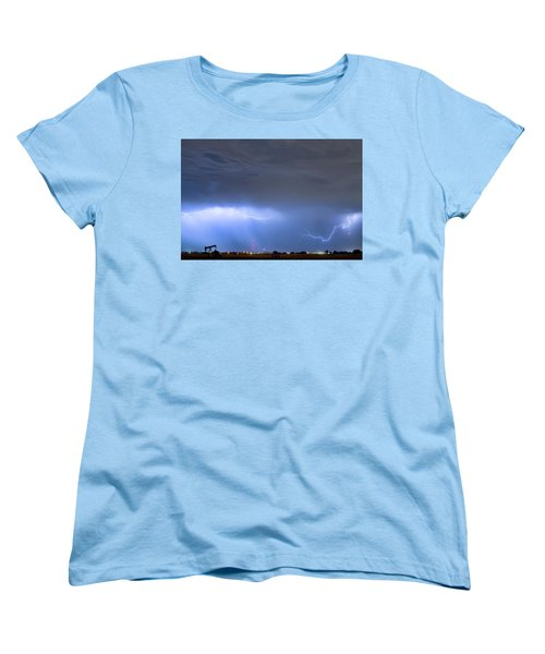 Women's T-Shirt (Standard Cut) featuring the photograph Michelangelo Lightning Strikes Oil by James BO Insogna