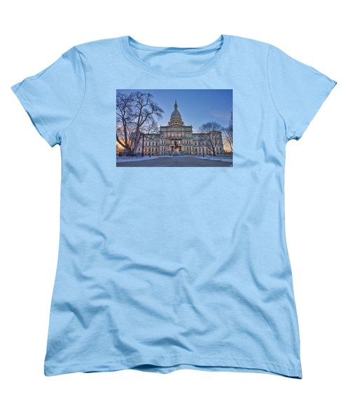 Women's T-Shirt (Standard Cut) featuring the photograph Michigan State Capitol by Nicholas Grunas