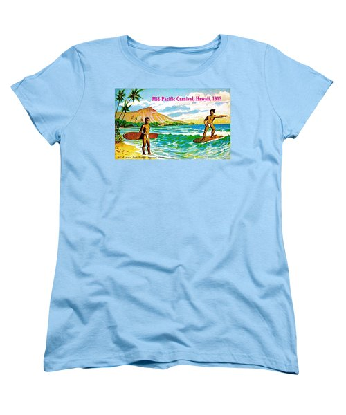 Women's T-Shirt (Standard Cut) featuring the painting Mid Pacific Carnival Hawaii Surfing 1915 by Peter Gumaer Ogden