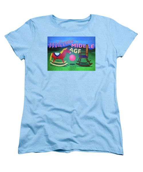 Middle Age Birthday Card Women's T-Shirt (Standard Cut) by Thomas Blood