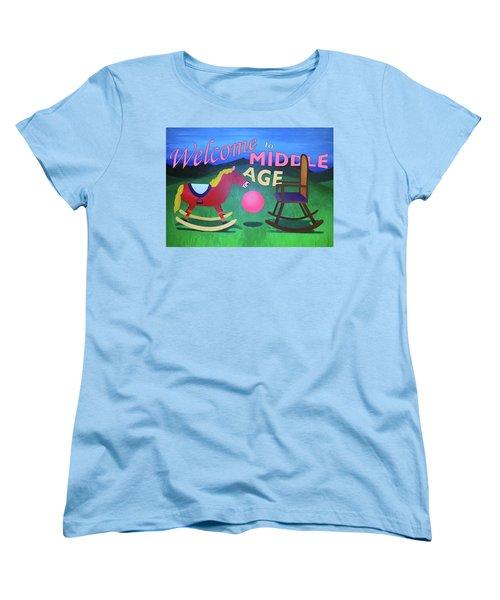 Middle Age Birthday Card Women's T-Shirt (Standard Cut)