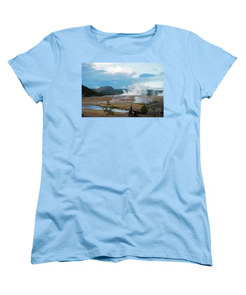 Midway Geyser Area Women's T-Shirt (Standard Cut) by Cindy Murphy - NightVisions
