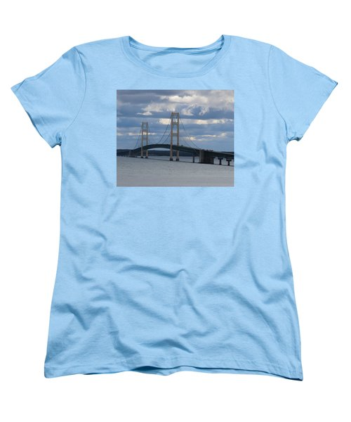 Mighty Mac The Mackinac Bridge Women's T-Shirt (Standard Cut) by Keith Stokes