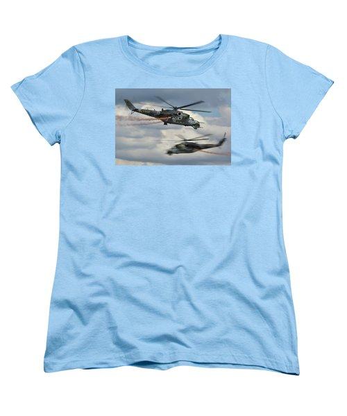 Women's T-Shirt (Standard Cut) featuring the photograph Mil Mi-24v Hind E by Tim Beach