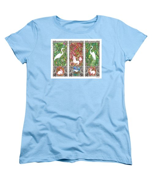 Millefleurs Triptych With Unicorn, Cranes, Rabbits And Dove Women's T-Shirt (Standard Cut) by Lise Winne