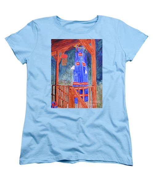 Women's T-Shirt (Standard Cut) featuring the painting Miner's Overalls by Sandy McIntire
