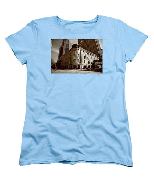 Women's T-Shirt (Standard Cut) featuring the photograph Minneapolis Downtown Sepia by Frank Romeo
