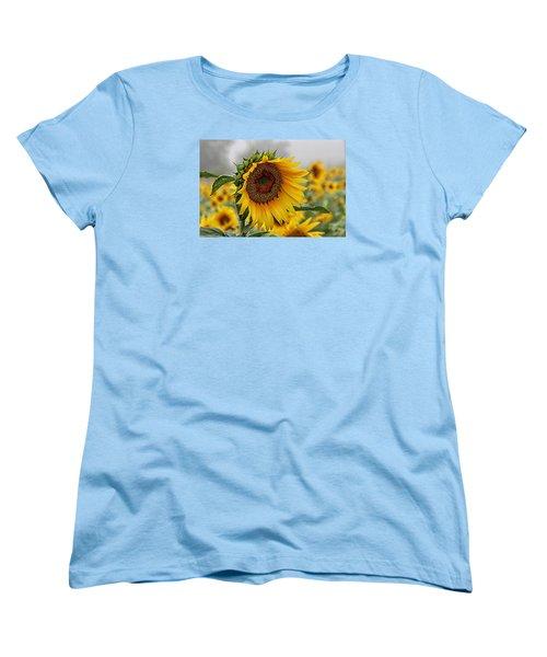 Misty Morning Sunflower Women's T-Shirt (Standard Cut) by Karen McKenzie McAdoo