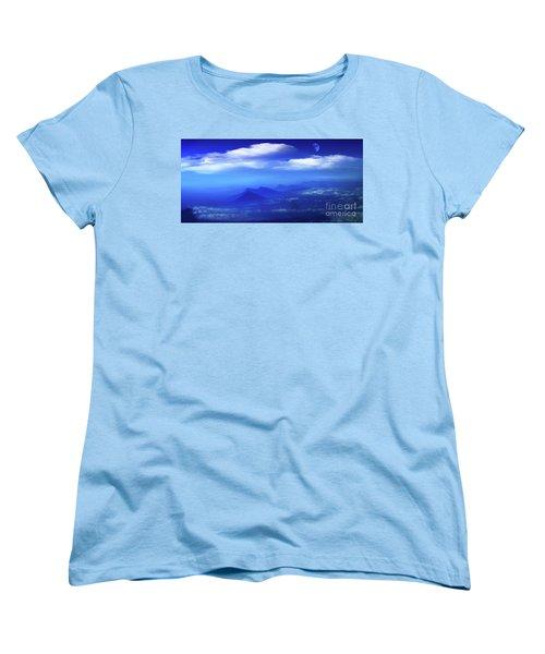 Misty Mountains Of San Salvador Panorama Women's T-Shirt (Standard Cut) by Al Bourassa
