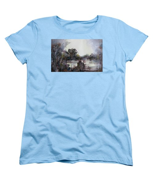 Women's T-Shirt (Standard Cut) featuring the painting Misty Pond by Geni Gorani