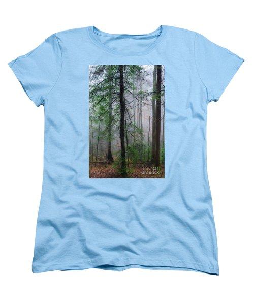 Women's T-Shirt (Standard Cut) featuring the photograph Misty Winter Forest by Thomas R Fletcher