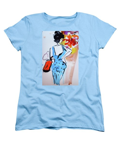 Model With Flowers And Red Handbag Women's T-Shirt (Standard Cut) by Amara Dacer