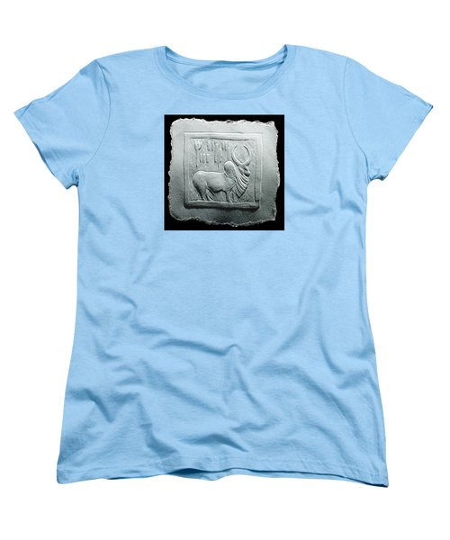 Women's T-Shirt (Standard Cut) featuring the relief Mohenjodaro Seal Relief Drawing by Suhas Tavkar