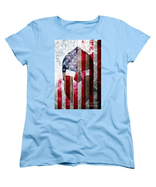 Molon Labe - Spartan Helmet Across An American Flag On Distressed Metal Sheet Women's T-Shirt (Standard Cut) by M L C