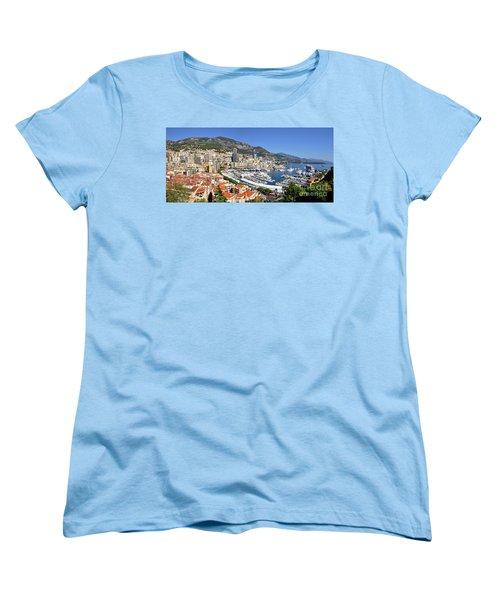 Women's T-Shirt (Standard Cut) featuring the photograph Monaco Port Hercule Panorama by Yhun Suarez