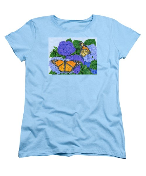 Monarch Butterflies And Hydrangeas Women's T-Shirt (Standard Cut) by Sarah Batalka