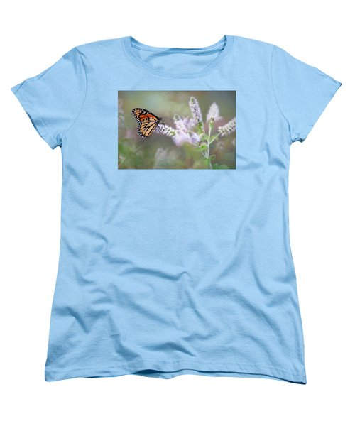 Women's T-Shirt (Standard Cut) featuring the photograph Monarch On Mint 1 by Lori Deiter