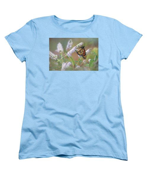 Women's T-Shirt (Standard Cut) featuring the photograph Monarch On Mint 2 by Lori Deiter