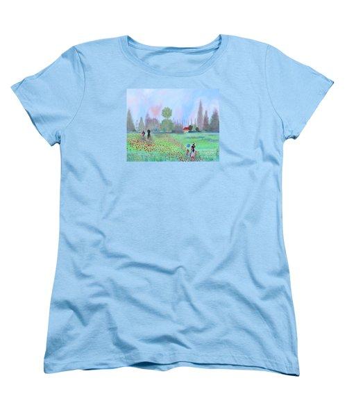 Monet's Field Of Poppies Women's T-Shirt (Standard Cut) by Stacey Zimmerman
