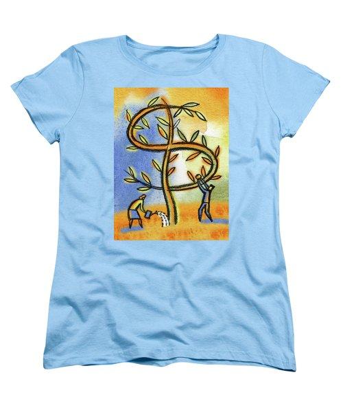 Women's T-Shirt (Standard Cut) featuring the painting Money Tree by Leon Zernitsky