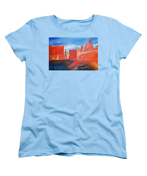 Women's T-Shirt (Standard Cut) featuring the painting Monument Valley  by Eric  Schiabor