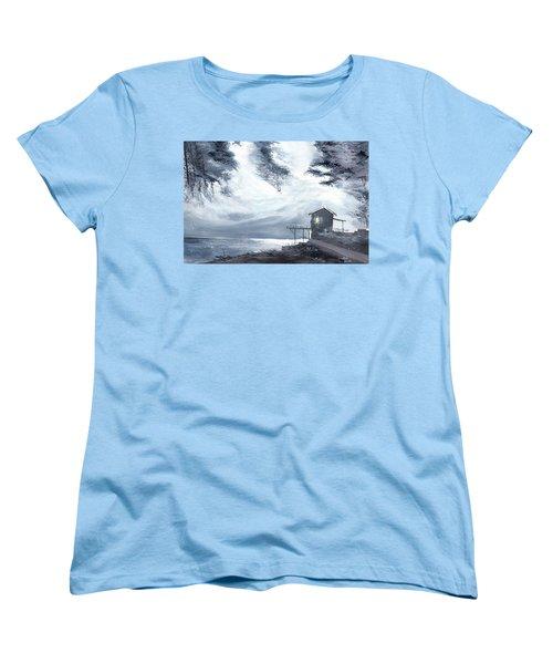 Women's T-Shirt (Standard Cut) featuring the painting Moon Light New by Anil Nene
