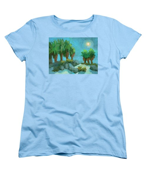 Women's T-Shirt (Standard Cut) featuring the painting Moon Shadows Indian Canyon by Diane McClary