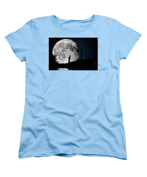 Moonlight Fishing Under The Supermoon At Night Women's T-Shirt (Standard Cut) by Justin Kelefas