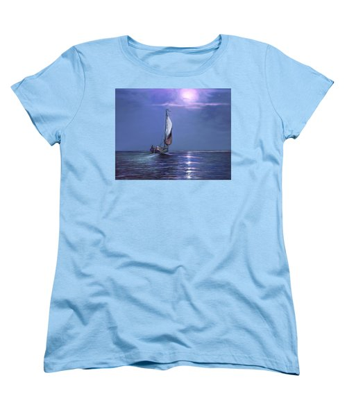 Women's T-Shirt (Standard Cut) featuring the painting Moonlight Sailing by David  Van Hulst