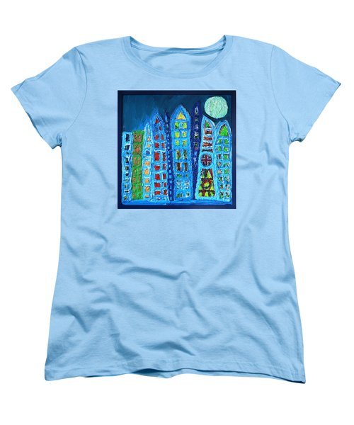 Moonlit Metropolis Women's T-Shirt (Standard Cut) by Darrell Black