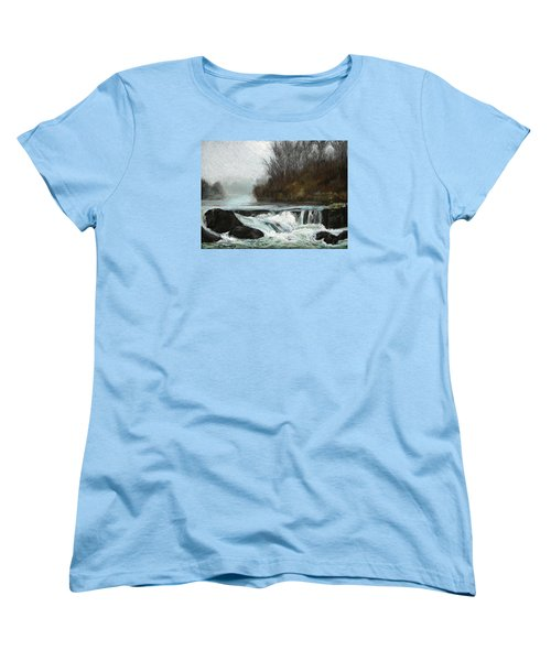 Women's T-Shirt (Standard Cut) featuring the painting Moonlit Serenity by Marna Edwards Flavell