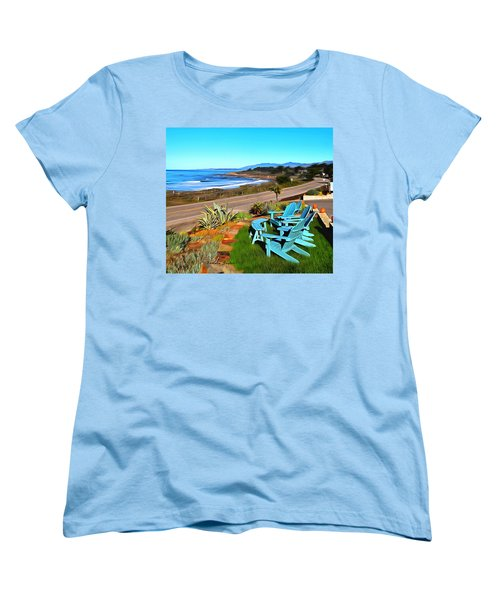 Women's T-Shirt (Standard Cut) featuring the photograph Moonstone Beach Seat With A View Digital Painting by Barbara Snyder