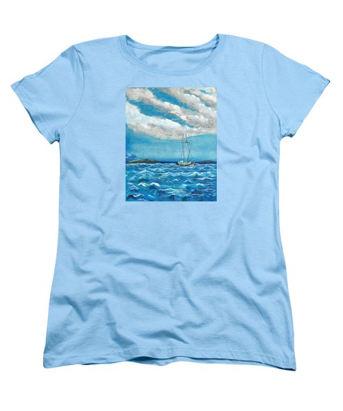 Women's T-Shirt (Standard Cut) featuring the painting Moored In The Bay by J R Seymour