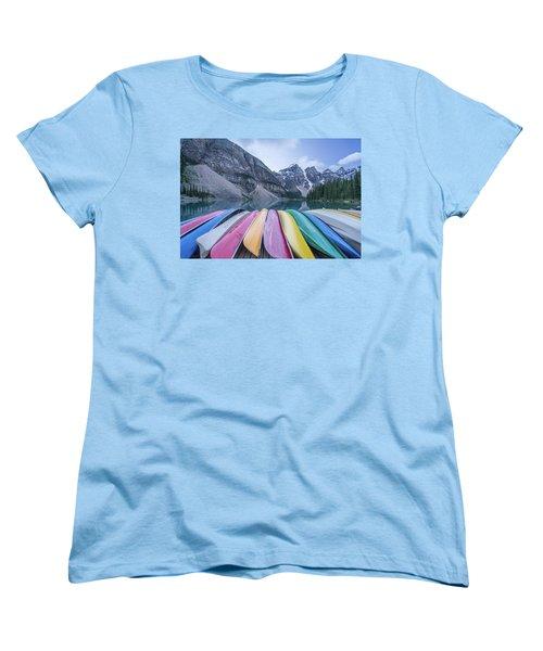 Moraine Lake Colors Women's T-Shirt (Standard Cut) by Alpha Wanderlust