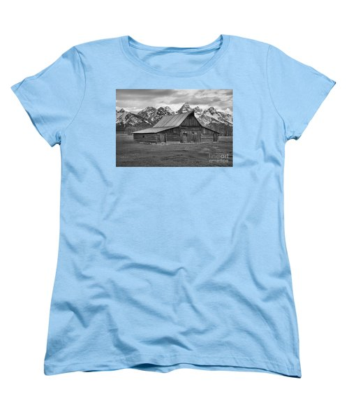 Mormon Homestead Barn Black And White Women's T-Shirt (Standard Cut) by Adam Jewell